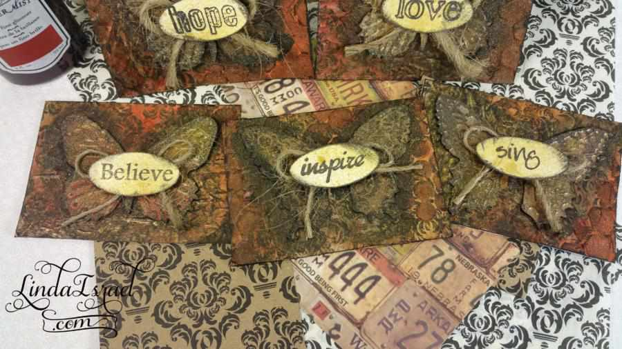 How to make Mixed Media ATCs with Texture Paste and Tattered Angels Glimmer Mists