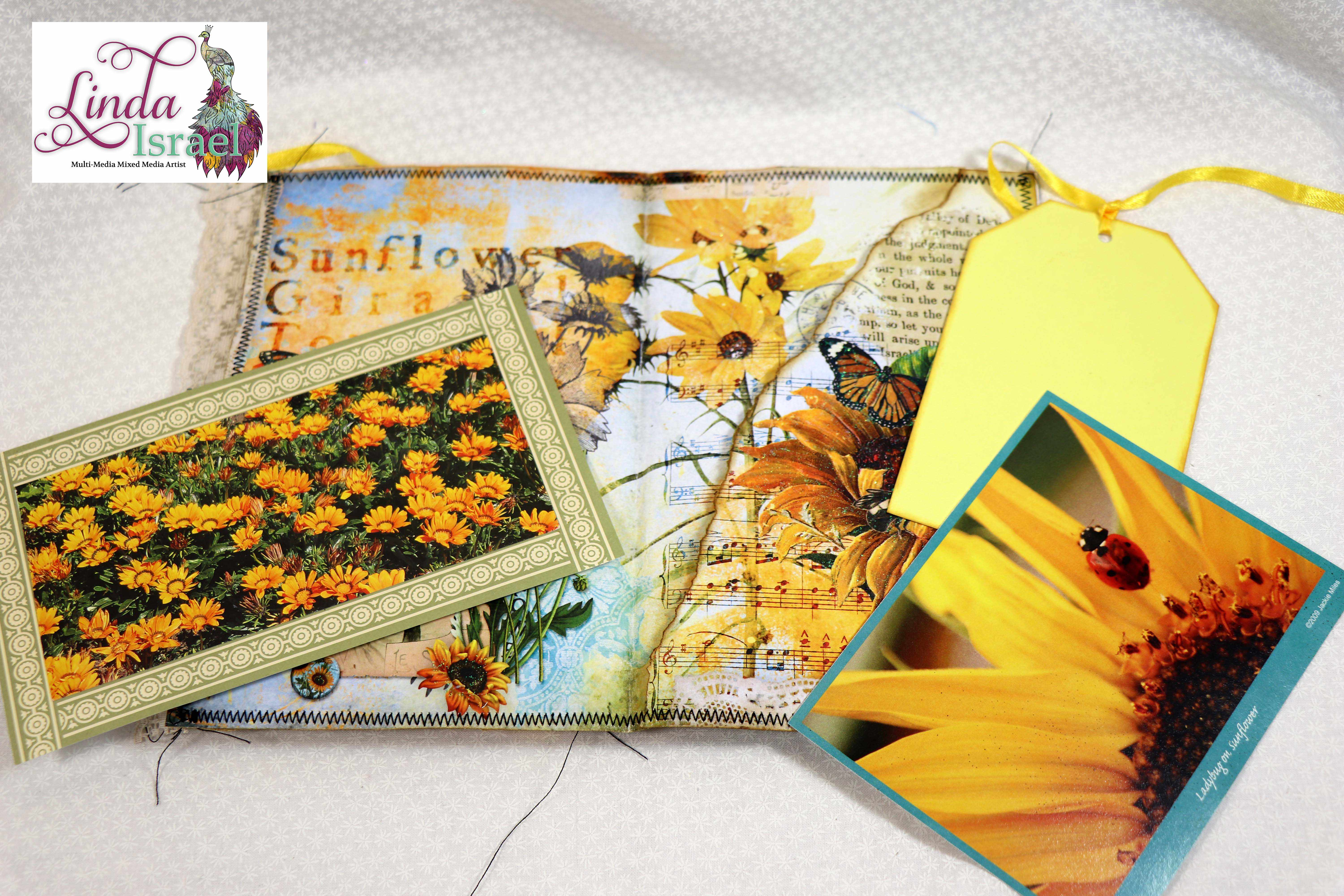 Sunflower Yellow Junk Journal Page Tutorial
