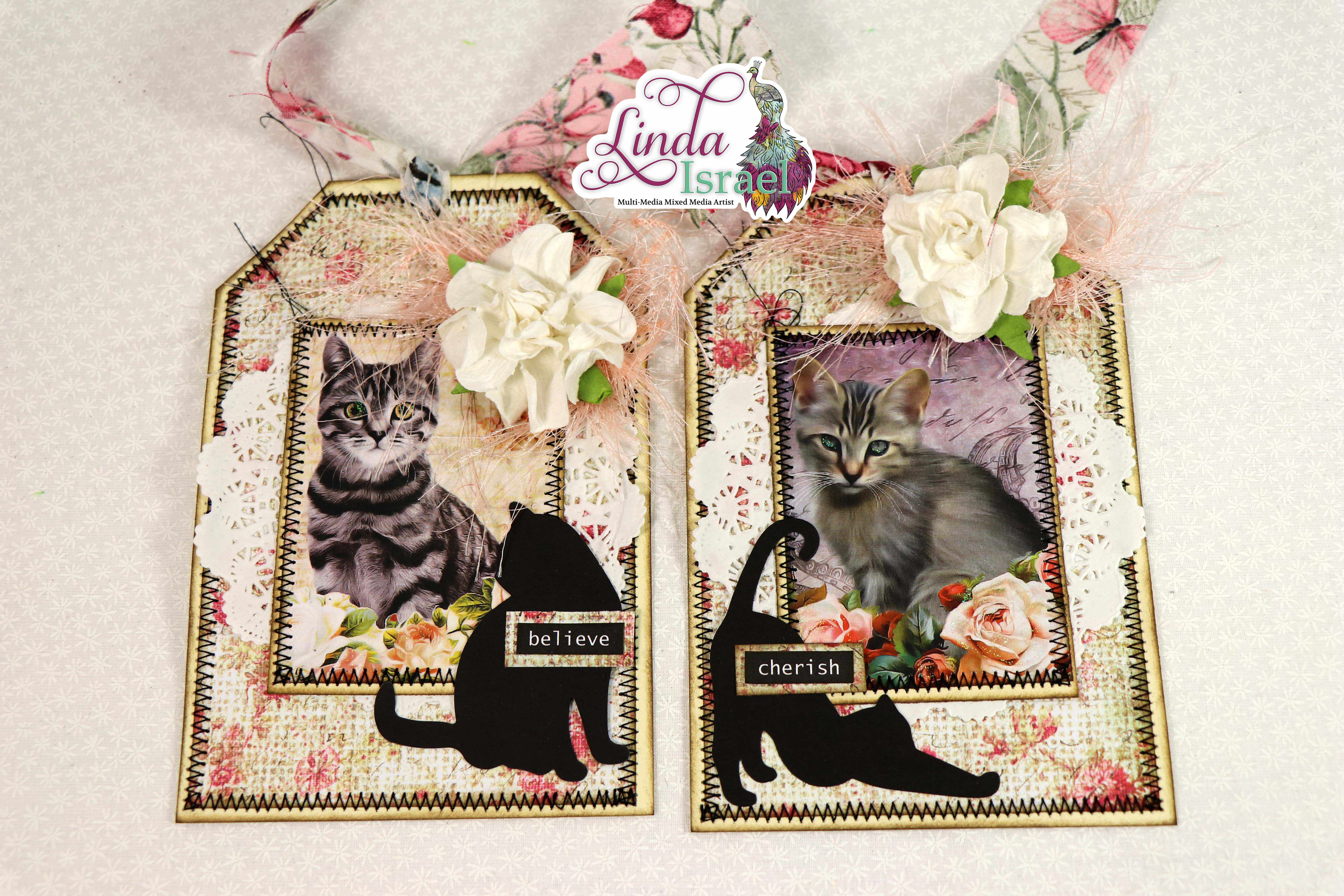Shabby Chic Cat Tag Tutorial