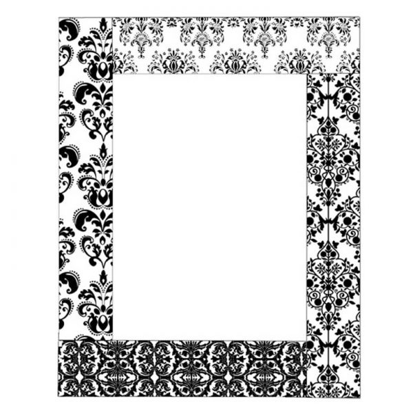 CTD010G Damask Frame Rubber Stamp