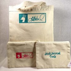 Embroidered Canvas Tote and Zipper Pouch