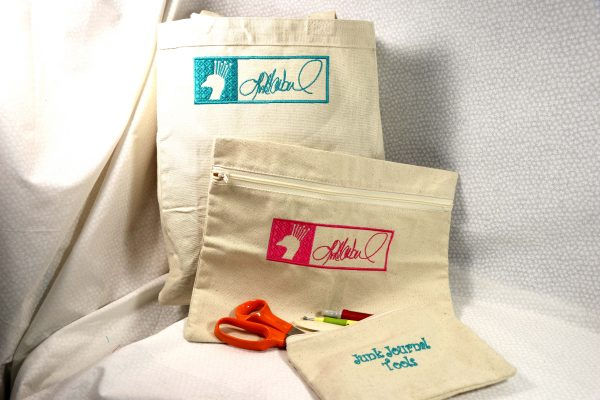Embroidered Canvas Tote and Zipper Pouches