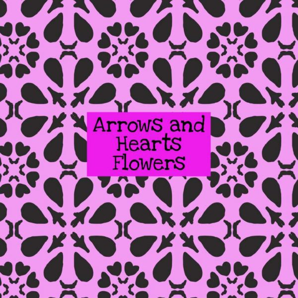 Arrows & Hearts Flowers Stencil
