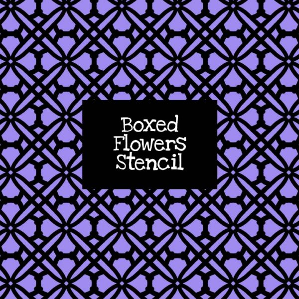 Boxed Flowers Stencil