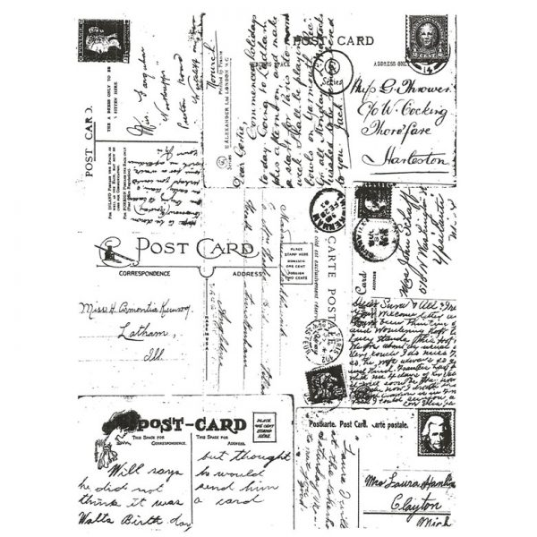 CHF224G Postcard Collage Rubber Stamp