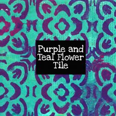 Purple and Teal Flower Tile Digital Download