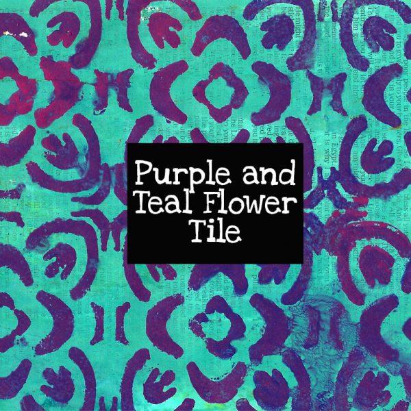 Purple and Teal Flower Tile Digital Download