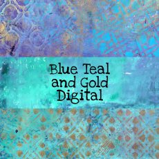 Blue Teal and Gold Digital Download