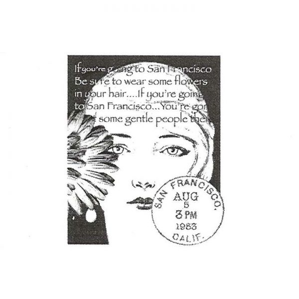 CBG118C Flowers in Her Hair Small Rubber Stamp