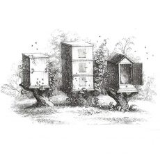 CFF129F Beehives Rubber Stamp