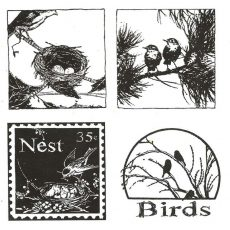 CFF264F Birds Life Cube Rubber Stamps