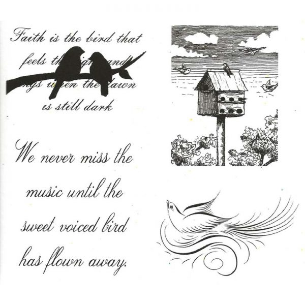 CFF708G Bird House Cube rubber stamp