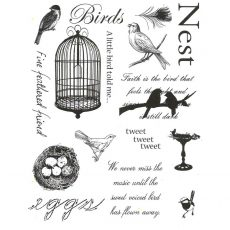 CFF711G Bird Collage Rubber Stamp