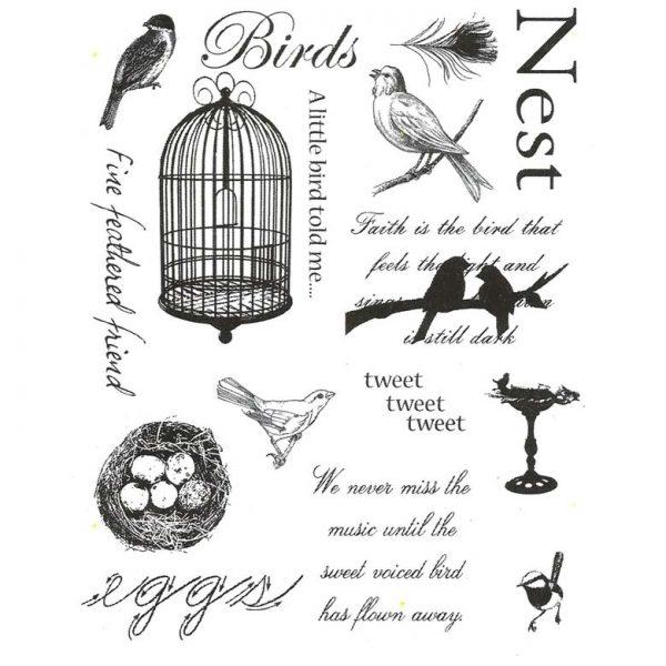 CFF711G Bird Collage Rubber Stamp