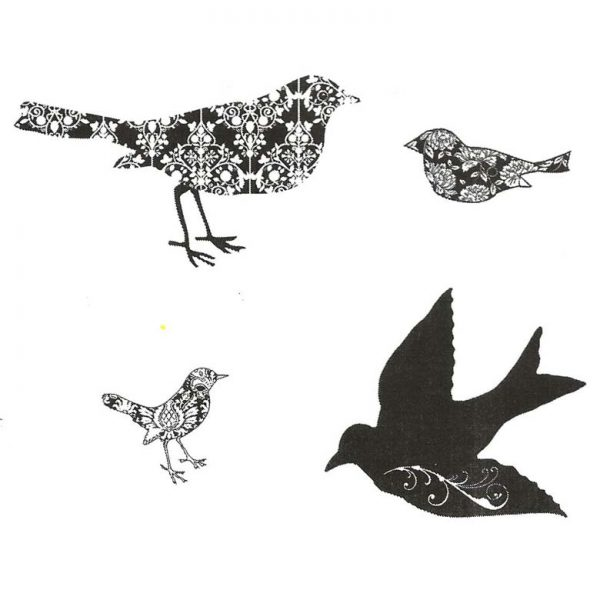 CTD013F Damask Birds Cube Rubber Stamps
