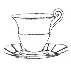 CUK115E Tea Cup Rubber Stamp