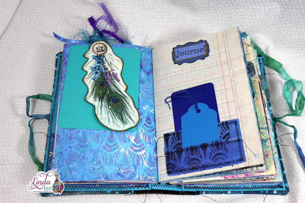 Fabric Covered Royal Peacock Junk Journal Flip Through