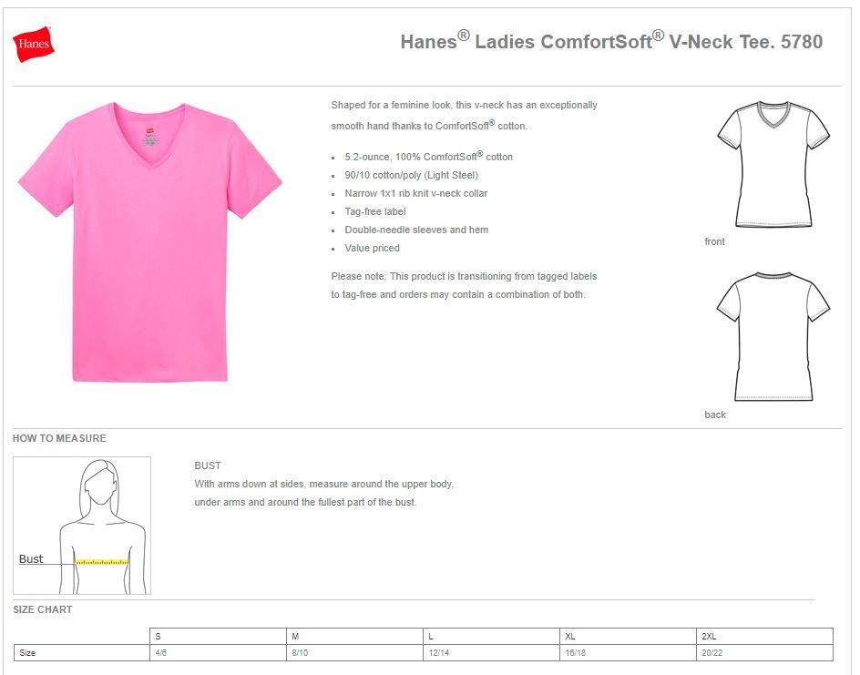 Hanes Ladies ComfortSoft V-Neck Tee 5780