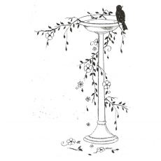CFF723E Bird Bath Rubber Stamp