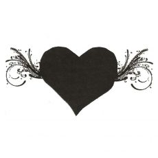 CHO169D Winged Heart Rubber Stamp