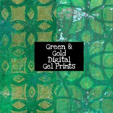 Green and Gold Digital Gel Prints