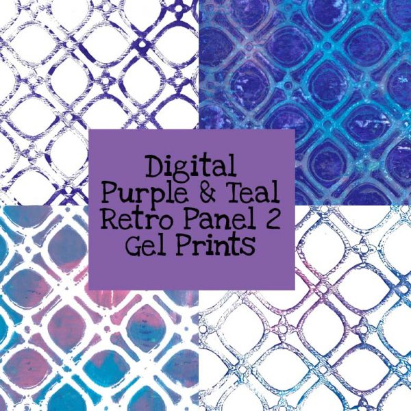 Purple & Teal Retro Panel 2 Gel Print Digital Download
