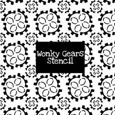 Wonky Gears Stencil