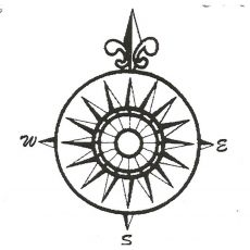 CNA202E Mariner's Compass Rubber Stamp