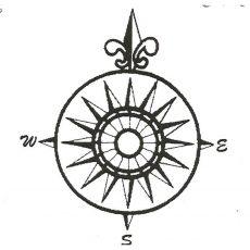 CNA202E Mariner's Compass Rubber Stamp