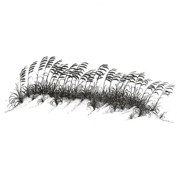 CNA235D Sea Oats on Dunes Rubber Stamp