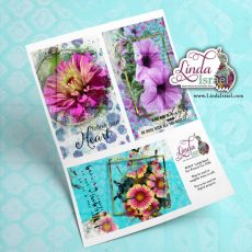 Digital Mixed Media Flower Journal Cards 1