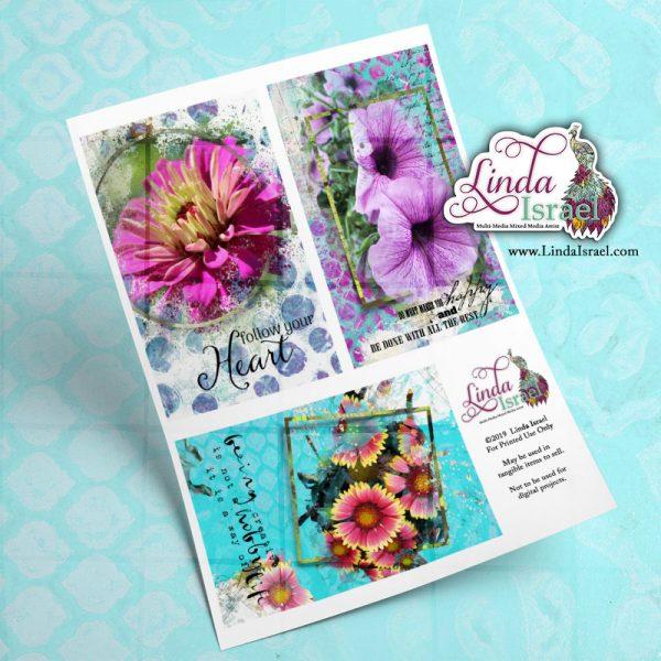 Digital Mixed Media Flower Journal Cards 1