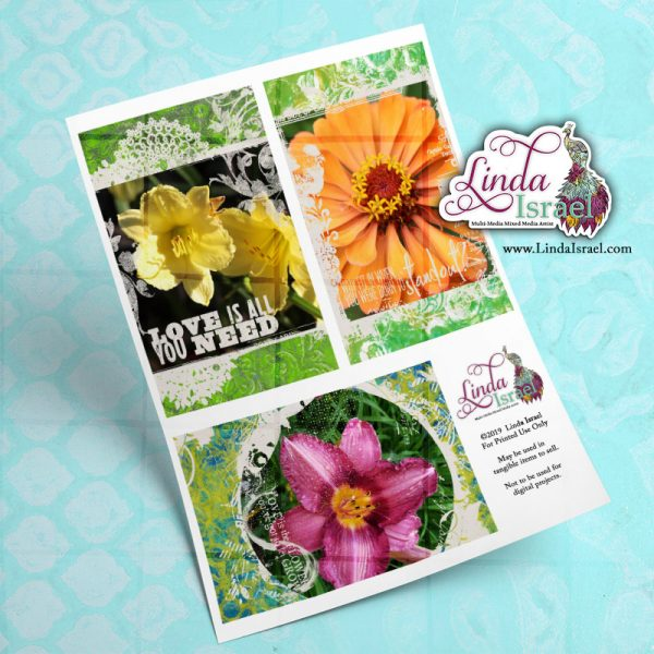 Digital Mixed Media Flower Journal Cards 2