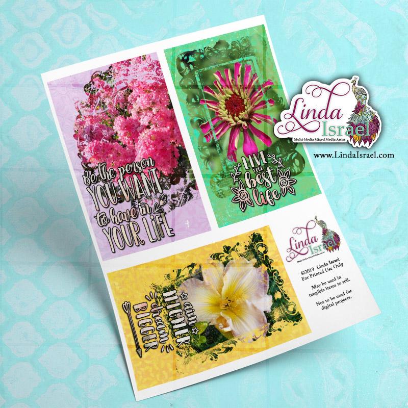 Digital Mixed Media Flower Journal Cards 3