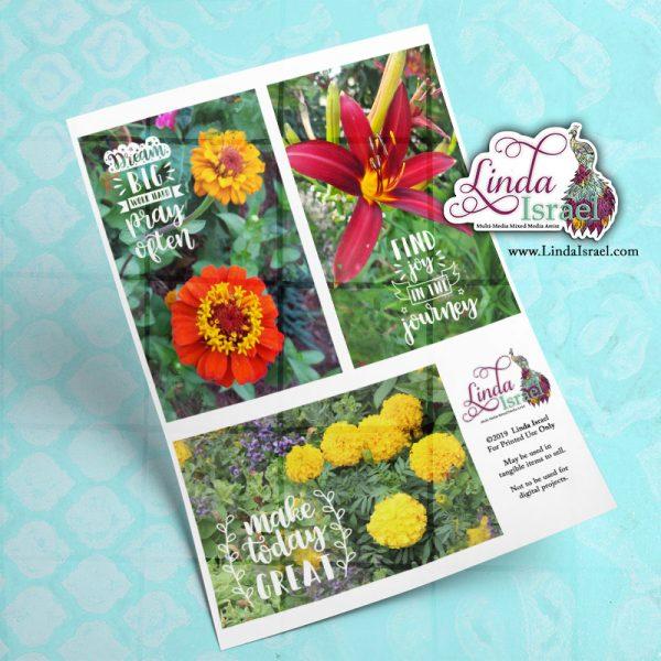 Digital Inspirational Flowers Journal Cards 1