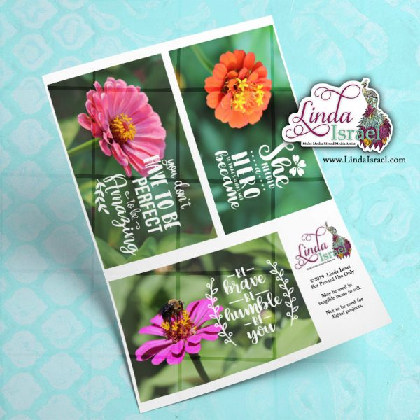 Digital Inspirational Flowers Journal Cards 2
