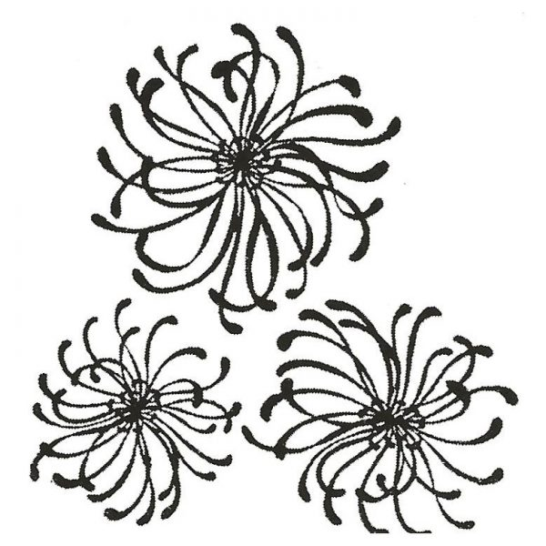 CFF715D Spider Mums Rubber Stamp