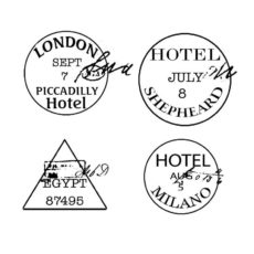 CTP436D Passport Hotels Cube Rubber Stamps