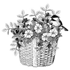 FF705G Flowers in a Basket Rubber Stamp