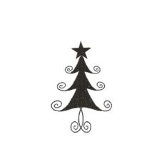 CHO109B Swirl Tree Sm Rubber Stamp