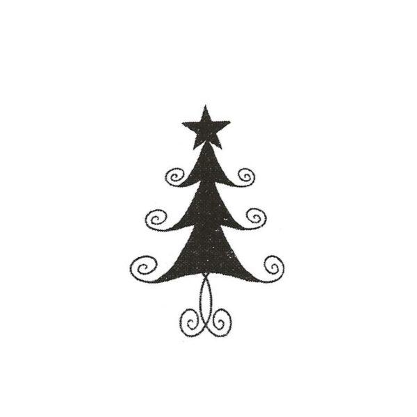 CHO109B Swirl Tree Sm Rubber Stamp