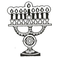 CHO137E Menorah Rubber Stamp