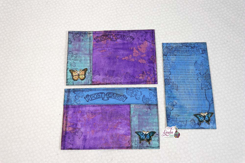 Day 8 Embellished Postcards as Journal Cards