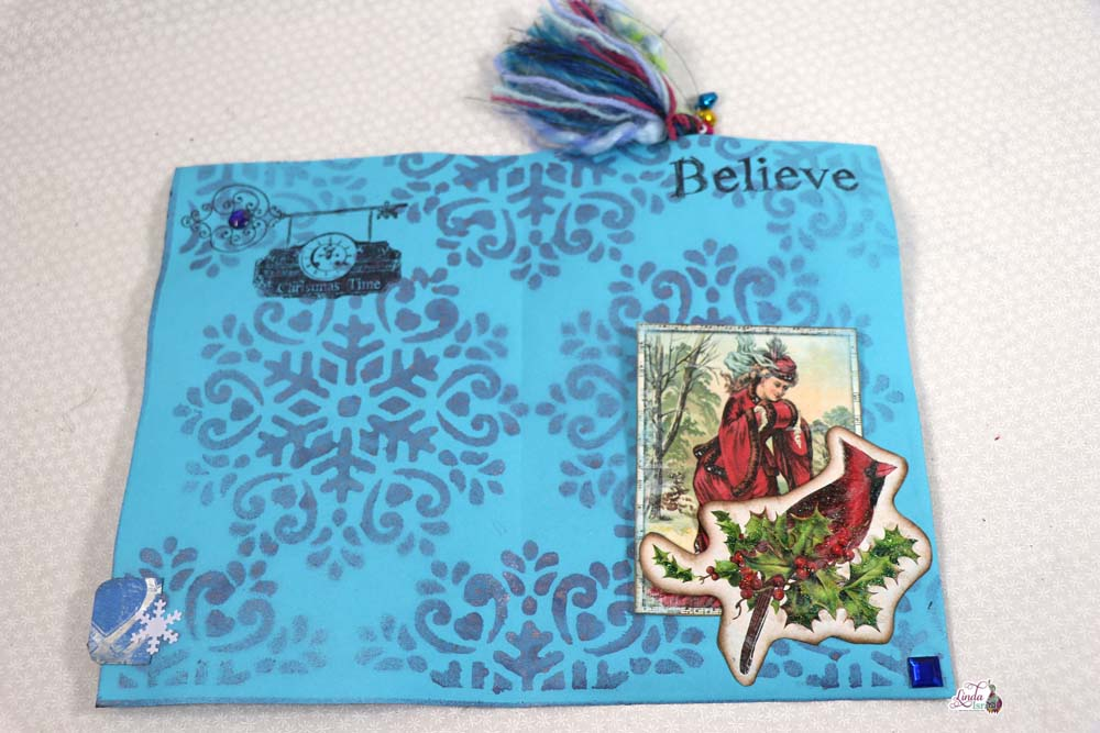 Winter Bliss Sprayed, Stenciled and Stamped Journal Page Tutorial