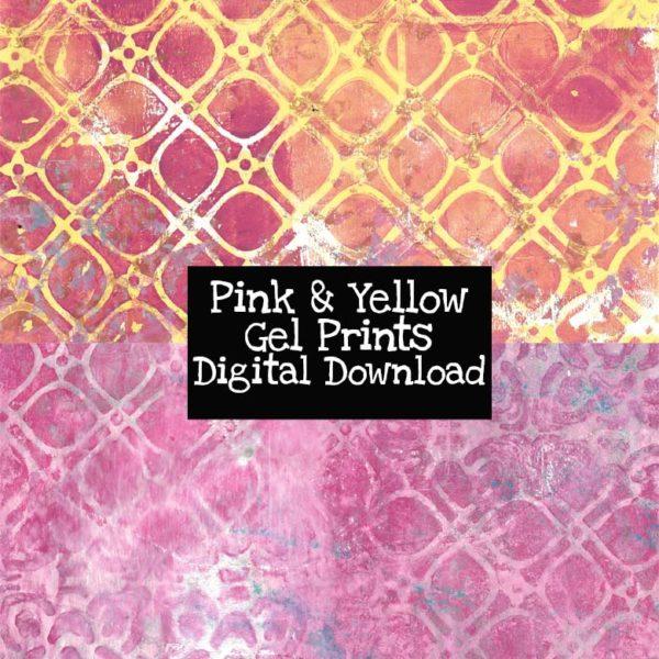 Pink and Yellow Gel Prints Digital Download