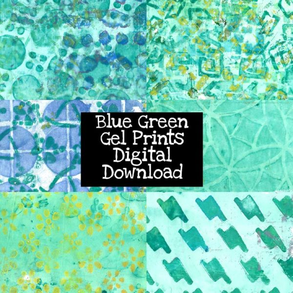 Blue Green Gel Prints Digital Download