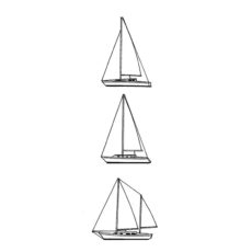 CNA122C Boats In A Row Rubber Stamp