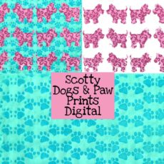 Pink Scotty Dogs And Paw Prints Digital Download