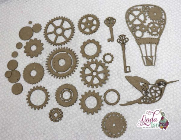 Steampunk Hot Air Balloon and More Chipboard Pieces