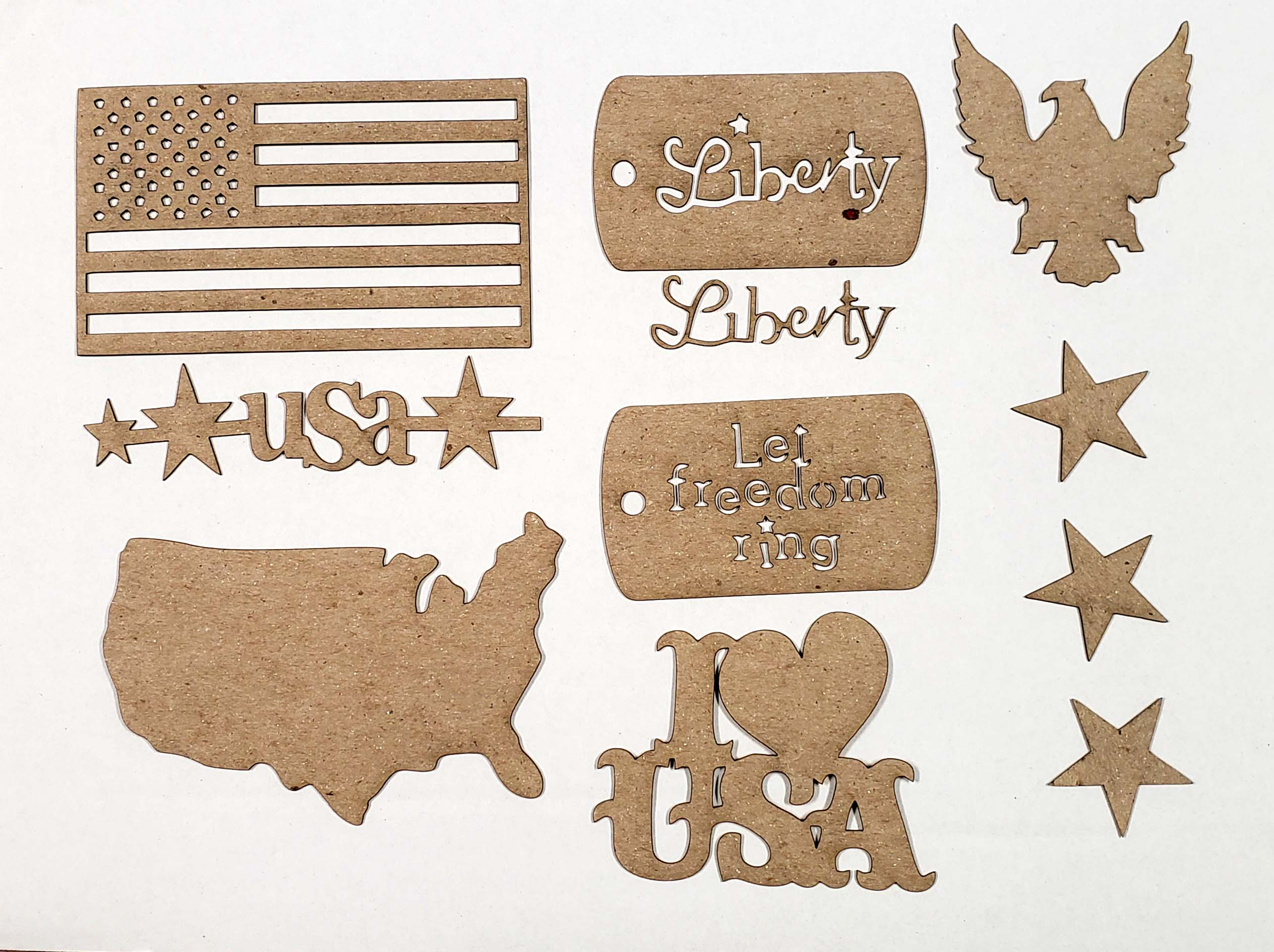 USA Chipboard Pieces